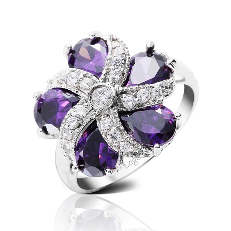 Purple Stone Flower Design Silver Finger Bridal Jewellery