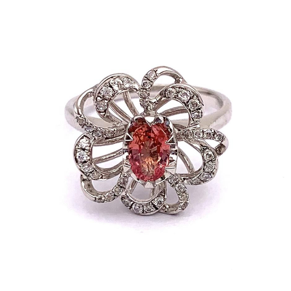 Red color beauty silver flower shape couple topaz ring mystic