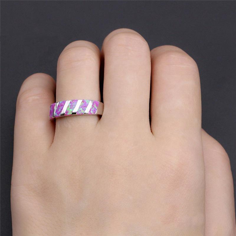 Simple Cheap Men Blue Ceramic Jewelry, Spiral Blue Opal Ring