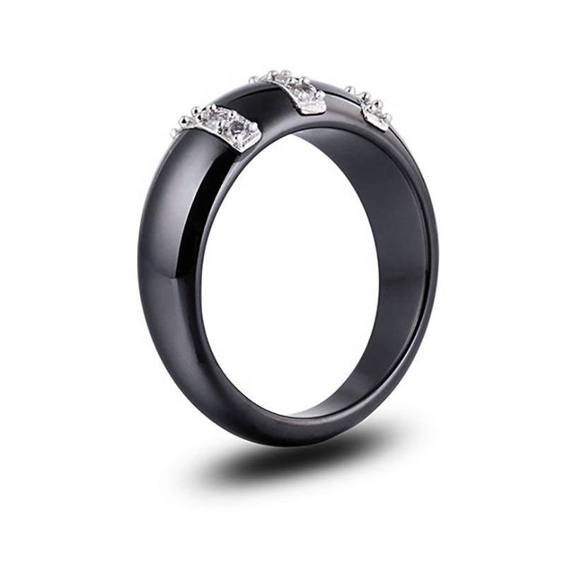 Black And White Ceramic Stainless Steel Rings With Three Row Zircon