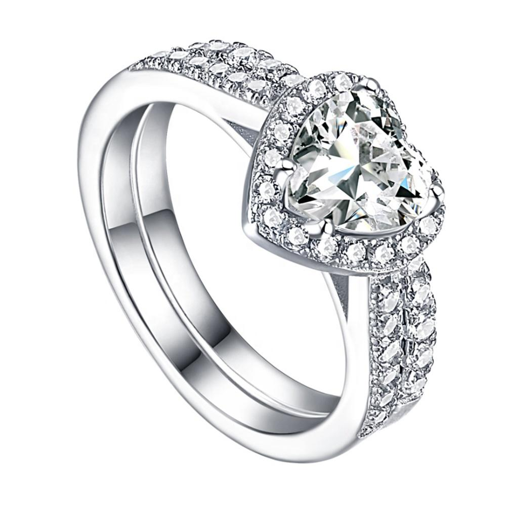 Double Halo Wedding Ring Sets, Heart Shaped Ring Designs For Girls