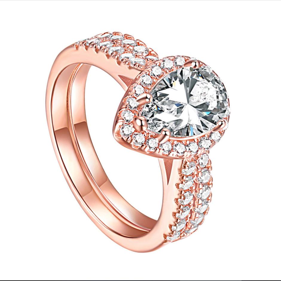 925 Sterling Silver Gemstone Stackable Eye Shaped Zircon Ring Women's