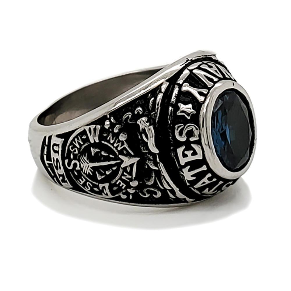 Hot selling university graduation custom mens big blue stone ring