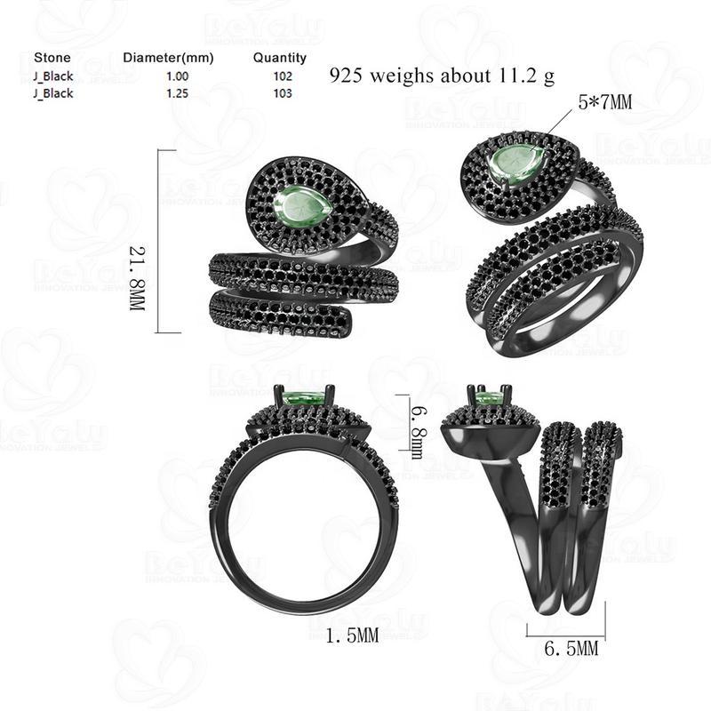 Design Your Own Ring, Black Gun Plating Emerald Stone Snake Finger Ring