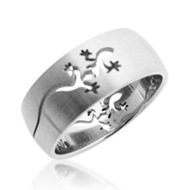 Cheap and fine lizard engraved shiny mens stainless rings