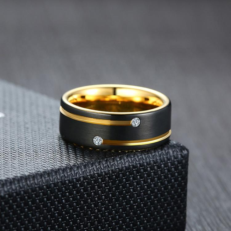 Black Enamel Simple Tungsten Ring With Gold Plated
