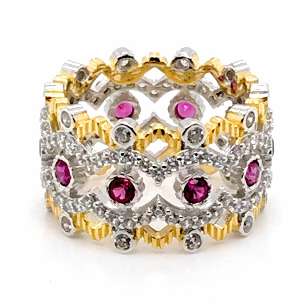 Trendy Natural Stone Hollow Engraved Large Ruby Rings Geometric