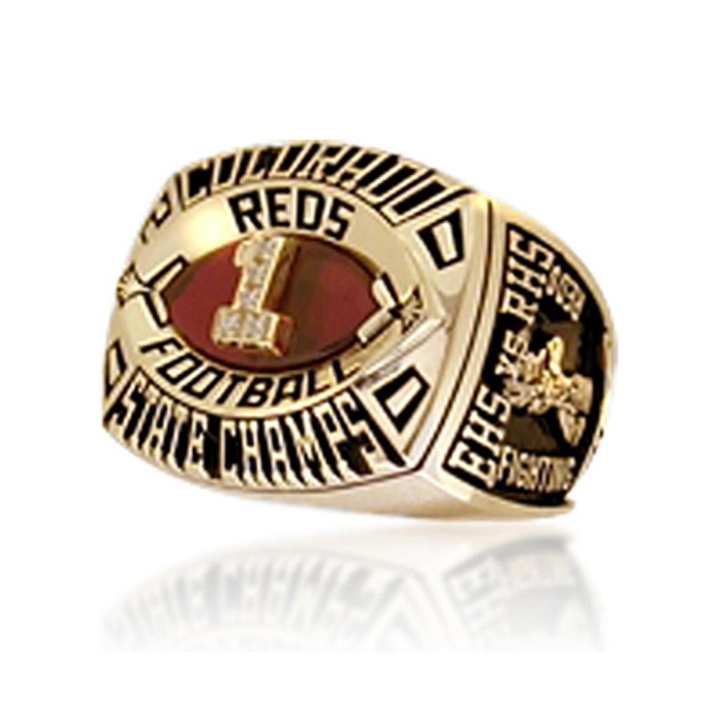 Football championship cool cheap real gold rings