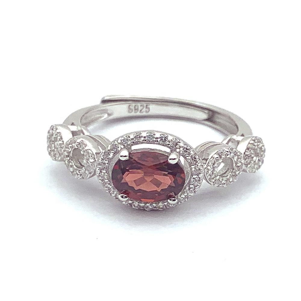 AAA Cz Inlaid Trendy Silver Bangkok Fashion Jewelry Red Stone Ring