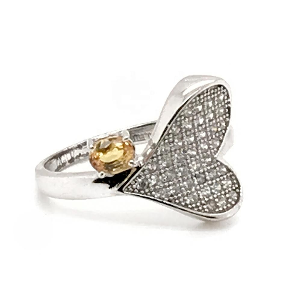 Yellow topaz clear cz silver ebay gemstone rings