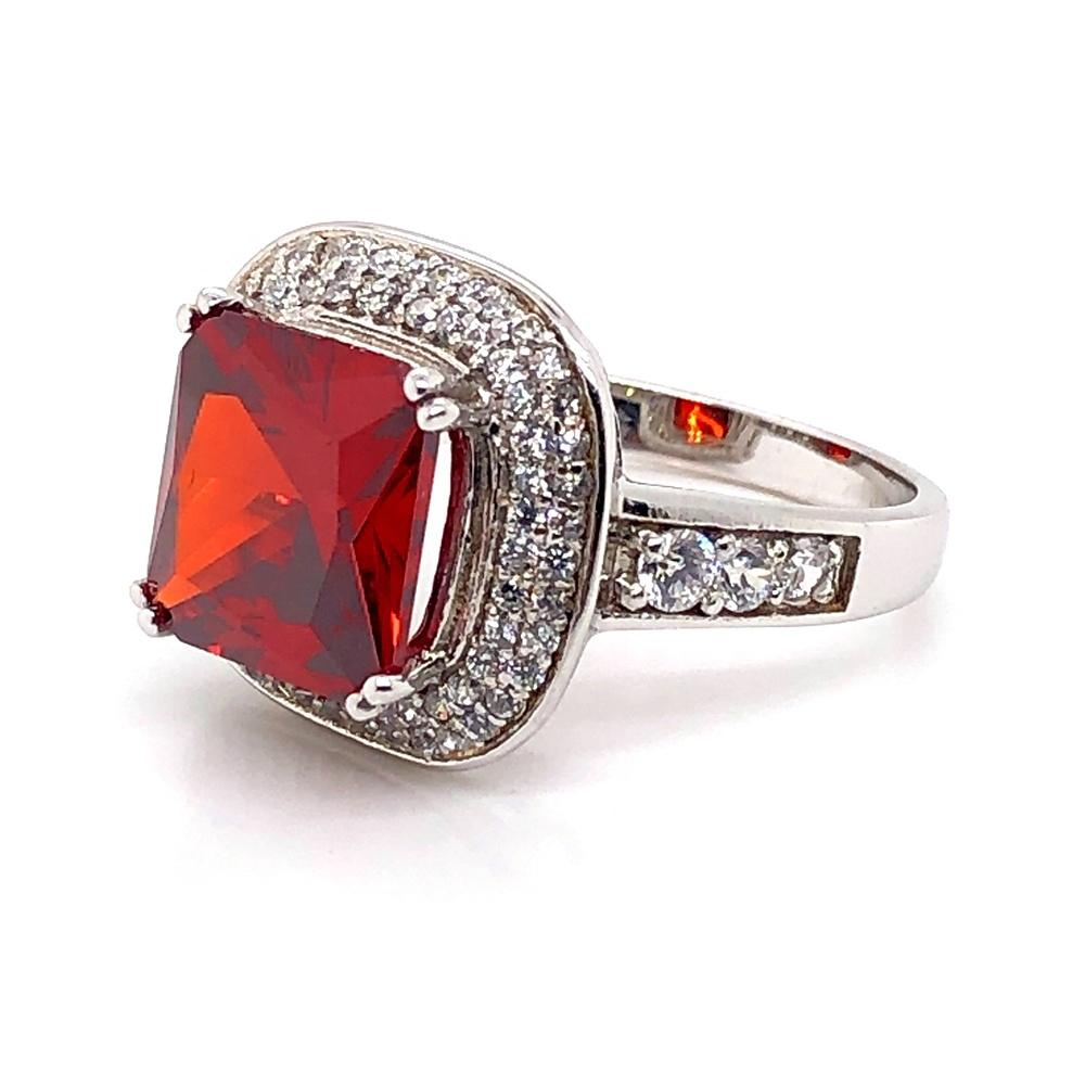 925 Sterling Silver Double Laps Cz Setting Rings With Red Zircon