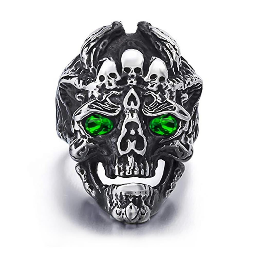 Colored Cz Inlaid Handmade Men Finger Ring, Bulk Steel Rings Mens Skulls