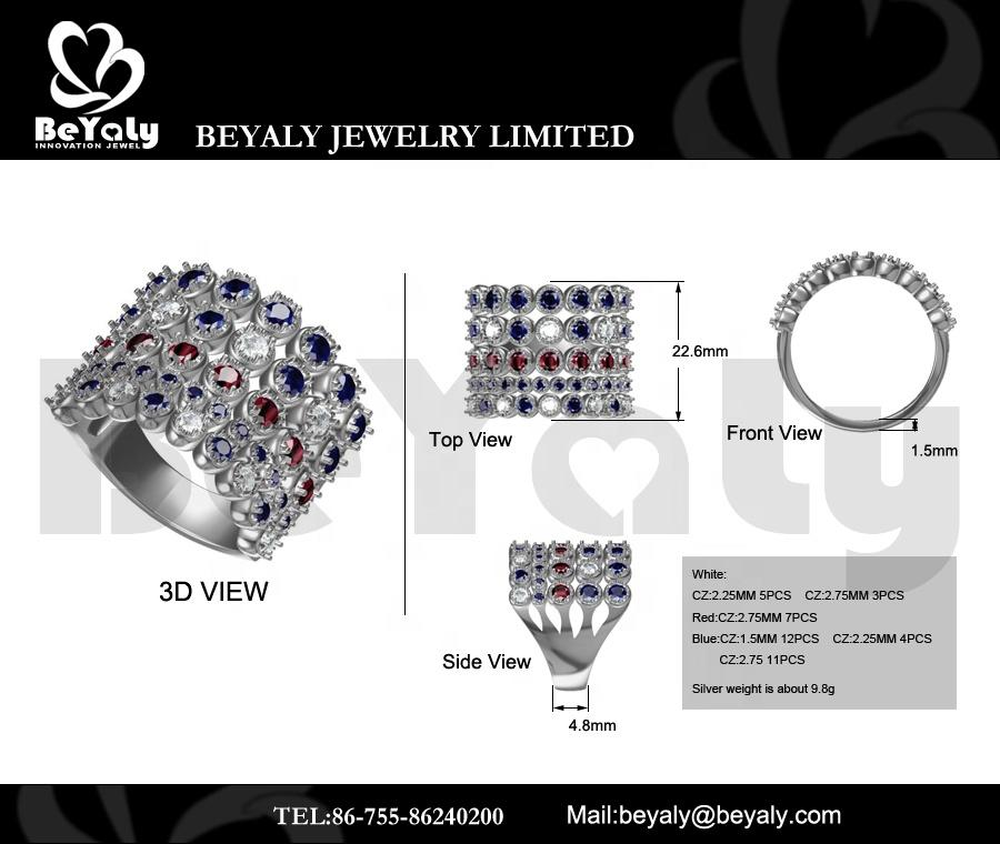 Beyaly CAD Custom Jewelry Multilayer Three Color Blue Red Clear Stone Ring