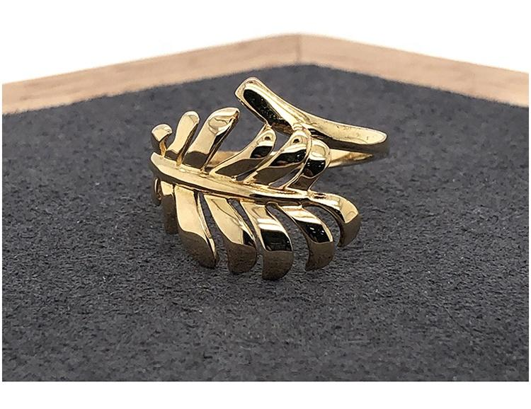 Gold Plated Shiny Leaf Wholesale Silver Ring Without Stone