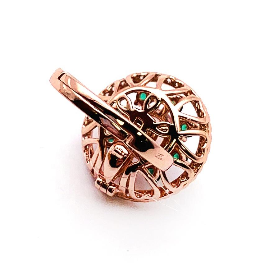 Green Stone New Dual Design Flower Onyx Silver 22 Carat Gold Ring