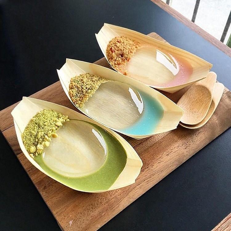 custom disposable birch bamboo boat shape sailing sushi tray wood sushi boat