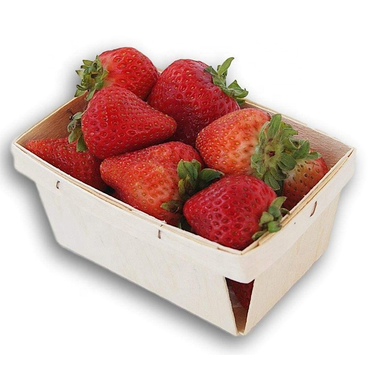 One Quart Wooden Berry Baskets 5.75-Inch Square Vented Wood Boxes for Fruit Picking