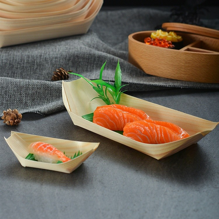 disposable wood tray food boat japanese sushi boat serving tray