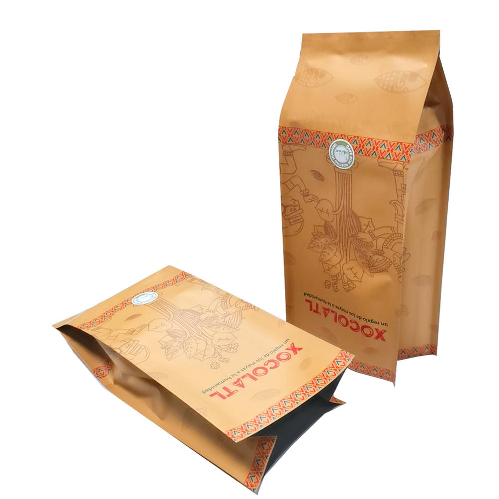 Customized Heal sealing side gusset Kraft paper bags for Coffee/Chocolate bean