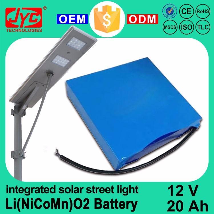 All in one Integrated Solar Street Light 12V 20Ah Li-ion Li-polymer Ternary Capacity Type Lithium Battery