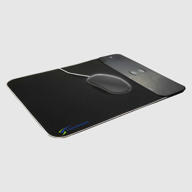 Hot sale Wireless charging custom mouse pad led rgb light red blue light gaming pad office mousepad