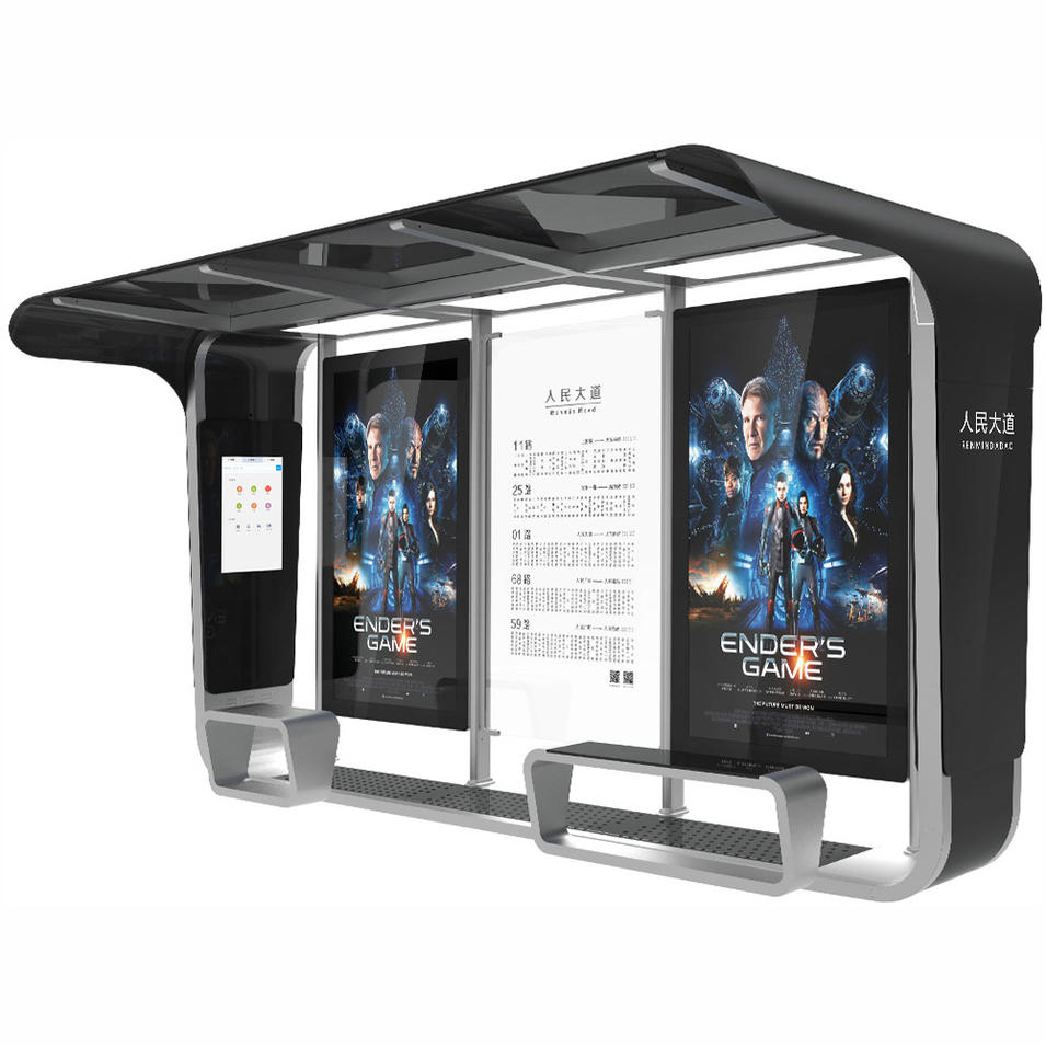Smart Bus Stop Outdoor Floor Standing LCD Kiosk with Bus Shelter