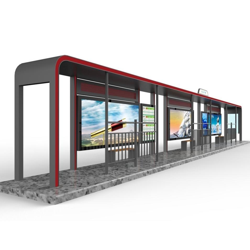 Smart Multifunction Outdoor Advertising Steel Bus stop Shelter Scrolling Light Box