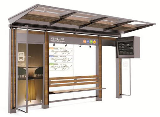 2020 outdoor furniture smart bus stop shelter for outdoor advertising
