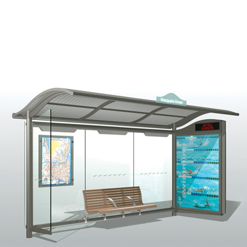outdoor digital bus stop shelter with led screen display