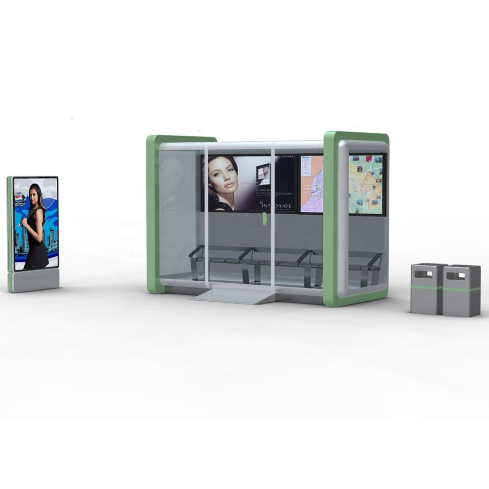 2020 Steel Structure Smart Bus Shelter Bus Stop for Advertising