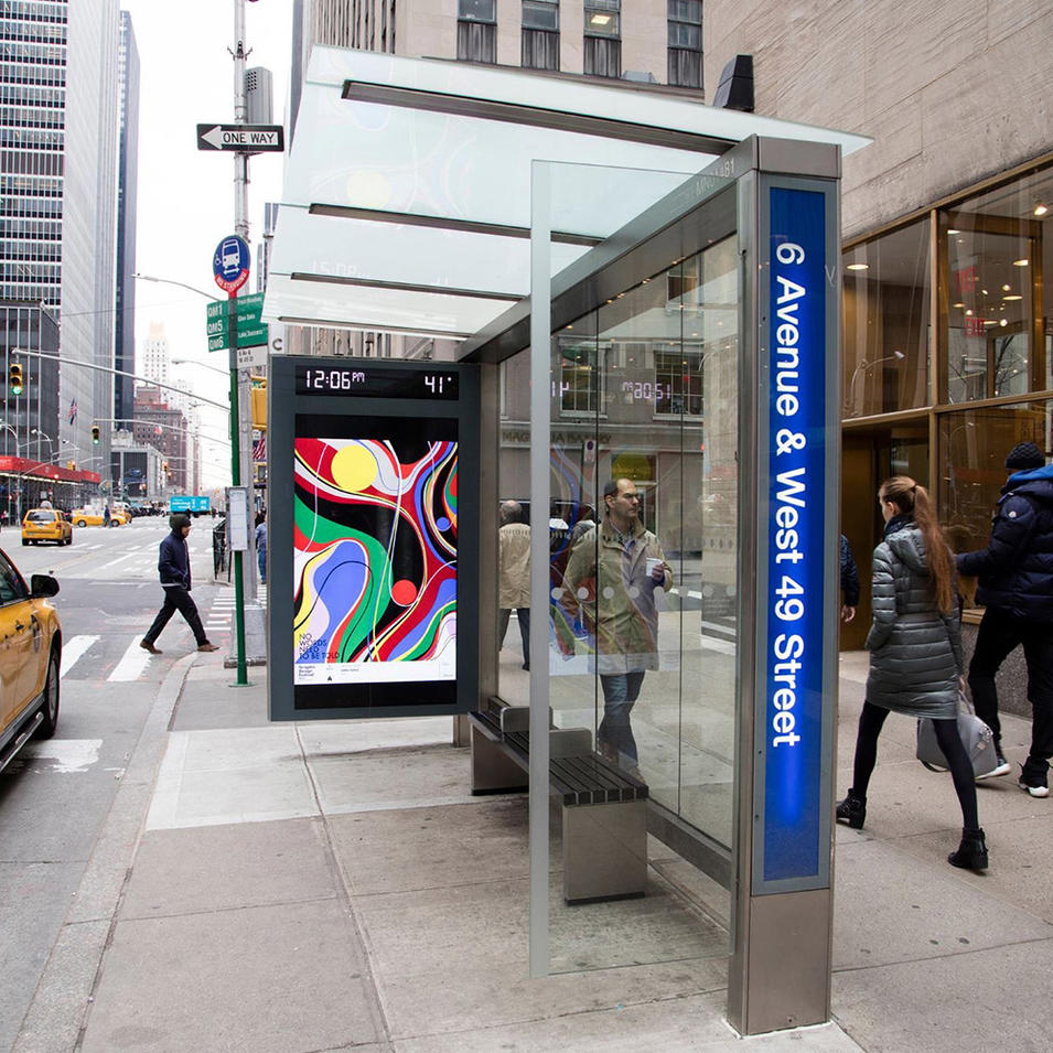 Outdoor street bus stop shelter with digital LED screen LCD display advertising function