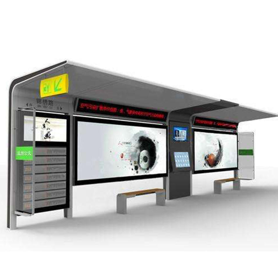 Outdoor Advertising Bus Stop Smart Bus Shelter with Light Box