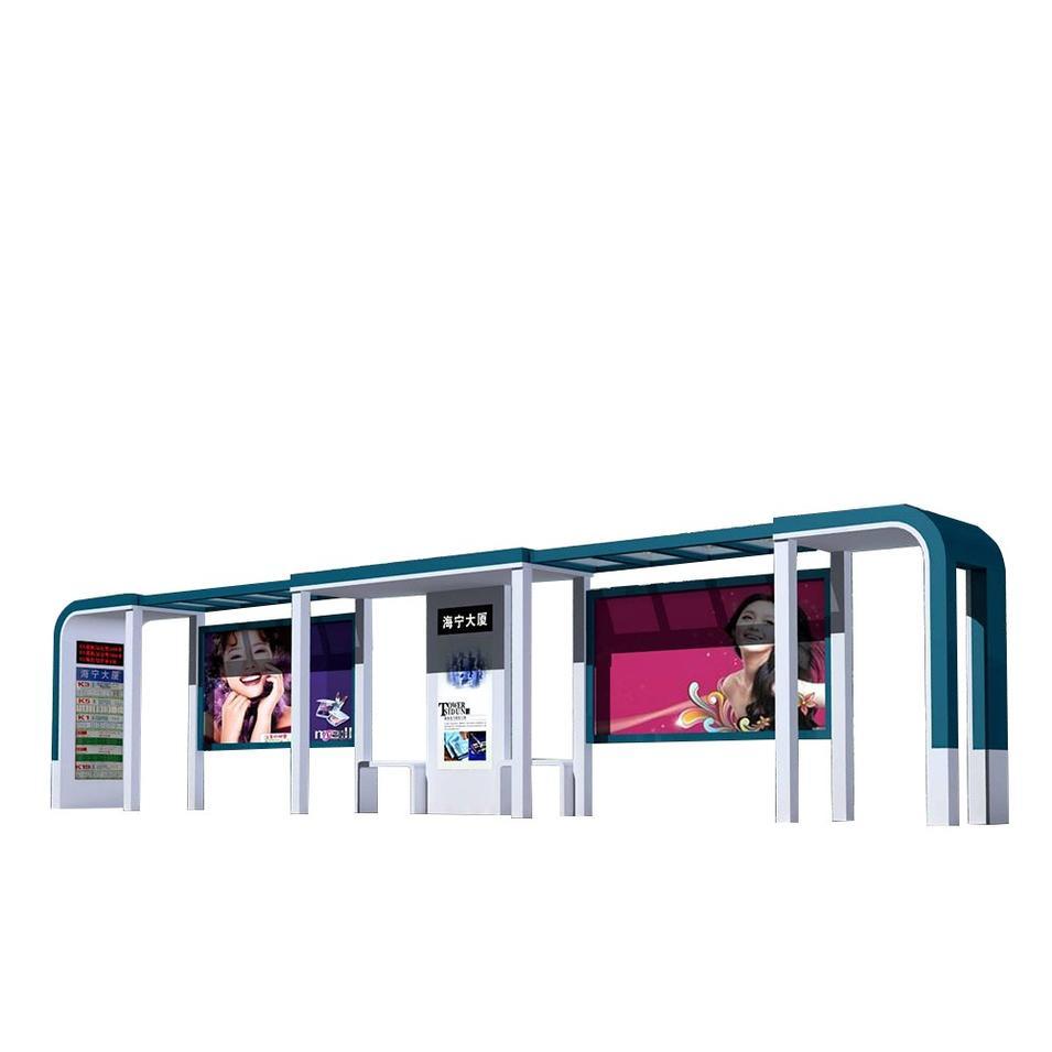 Smart Multifunction Outdoor Advertising Steel Bus Stop Shelter