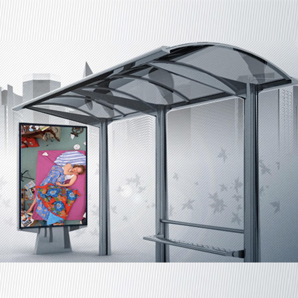 Smart Metal Bus Stop Shelter With P5 outdoor LED screen display