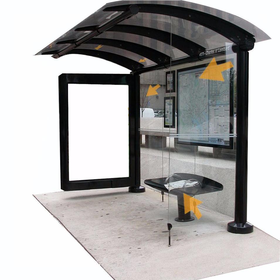 Customized Smart Bus Shelter Metal Bus Stop Shelter Design