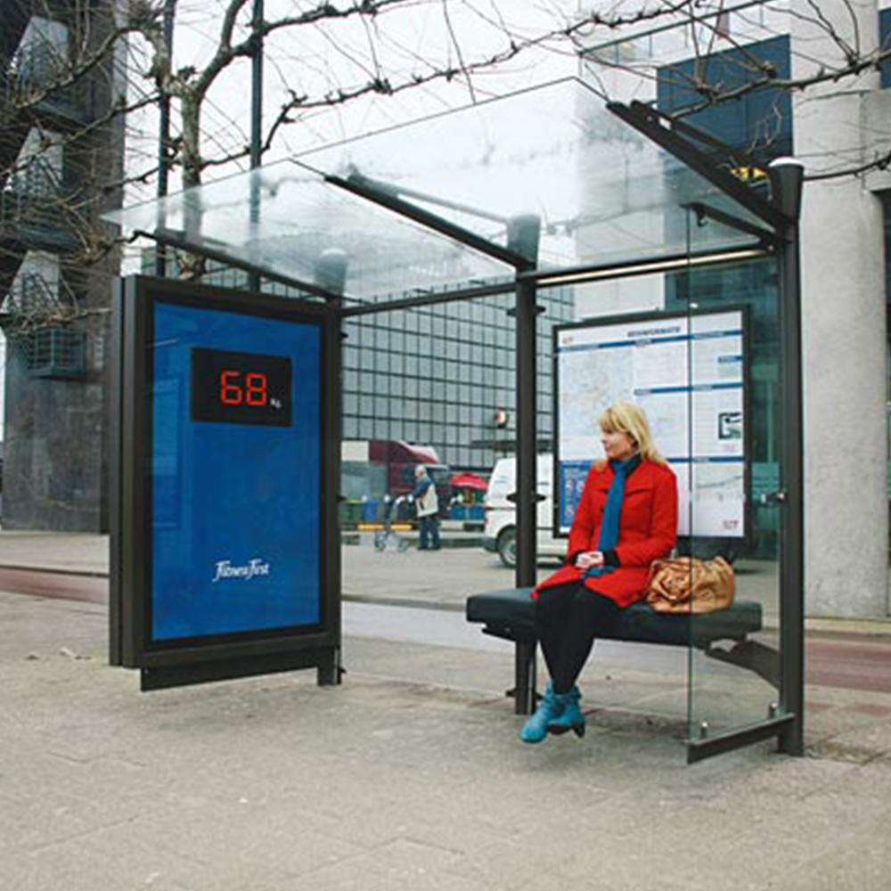 Digital Bus Stop Shelter With LED Advertising Light Box