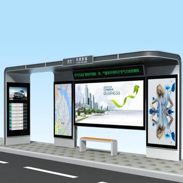 Outdoor Advertising Smart Bus Shelter Bus Stop Manufacturer