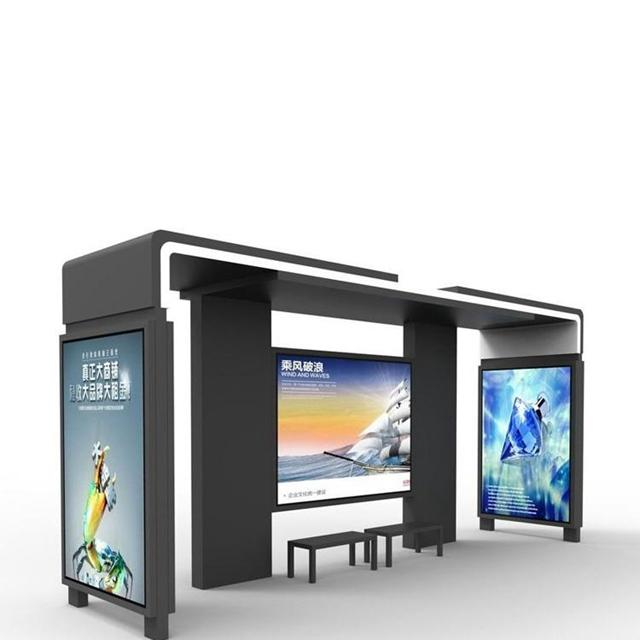 Street Furniture Digital Bus Stop Shelter With LCD display LED screen