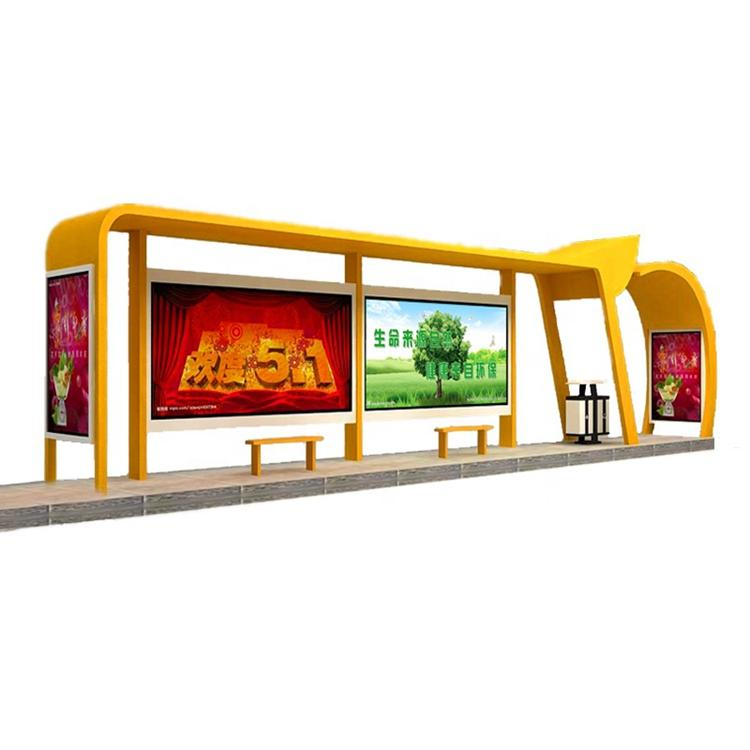 Modern Appearance Bus Stop Shelter in High Quality with Digital Billboard for Ads.