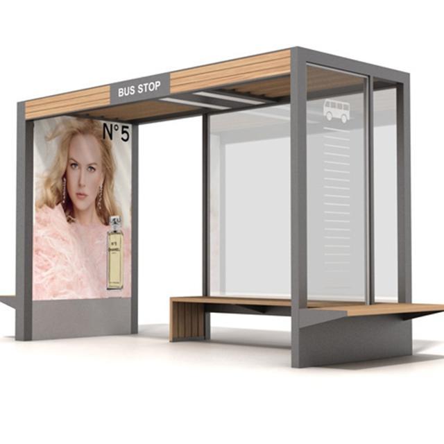Modern Smart Bus Shelter Metal Bus Stop Shelter Customized Bus Station Design