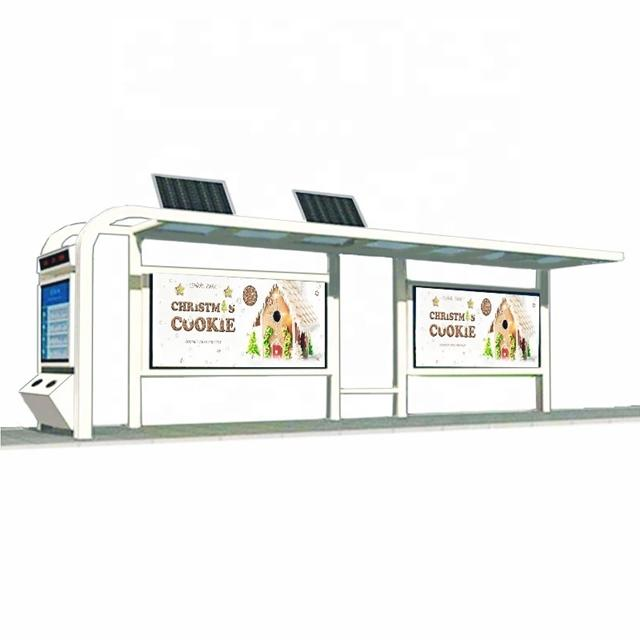 Outdoor Advertising Bus Shelter Design Steel Structure Bus Station