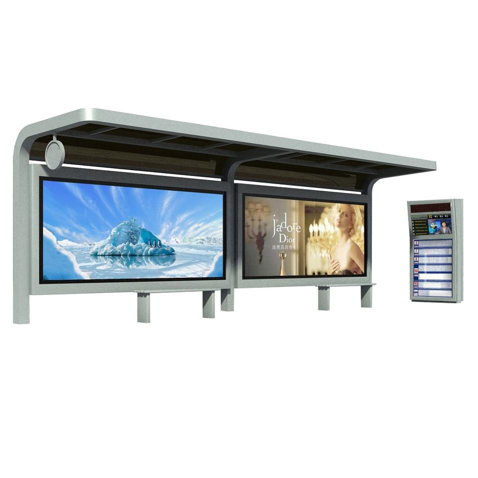 Smart Outdoor Advertising Steel Bus stop Shelter With Scrolling Light Box LED Display