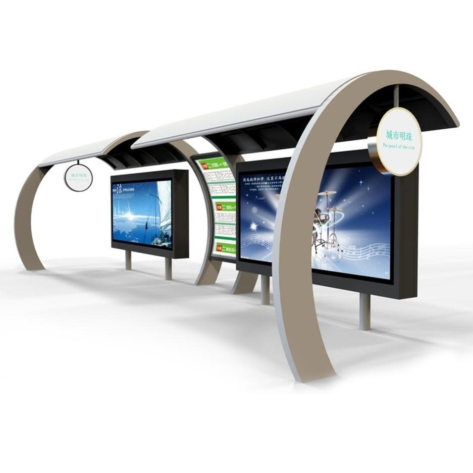 Smart Traffic Multifunction Outdoor Advertising Steel Bus stop Shelter