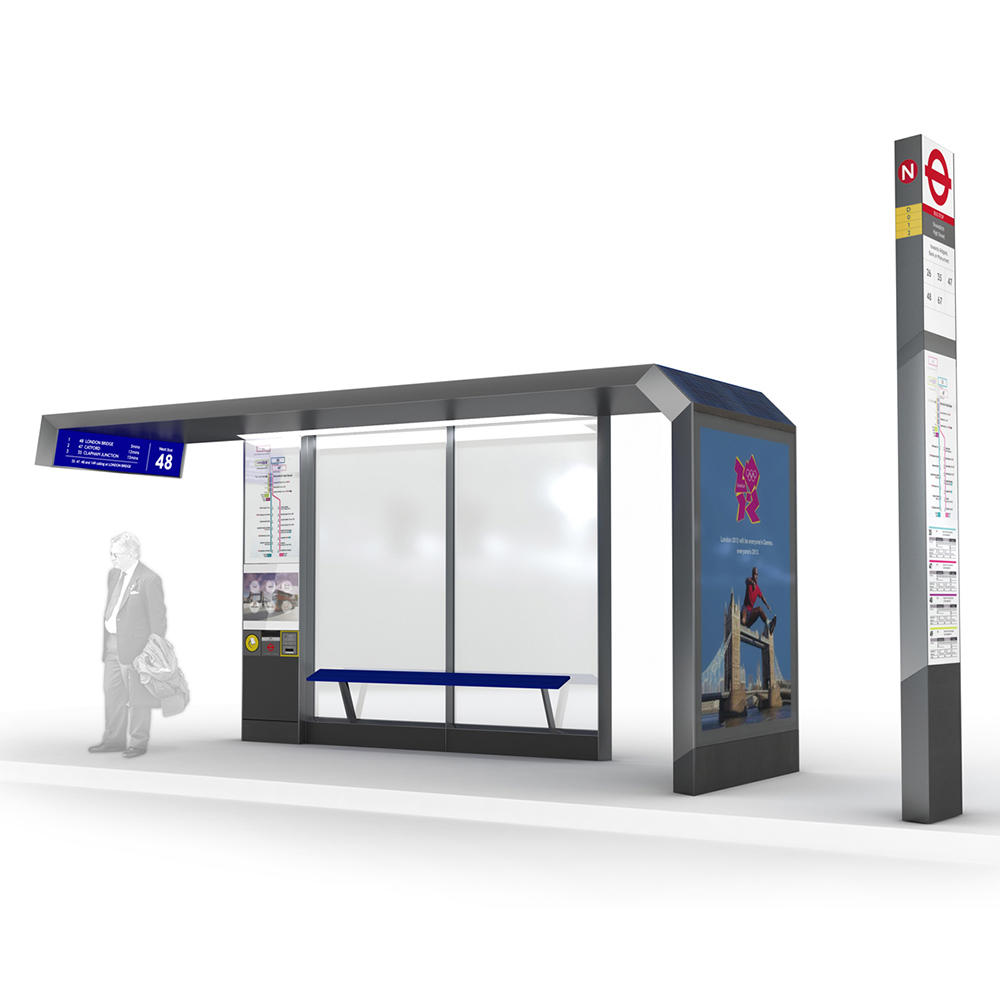 Top quality stainless steel structure outdoor advertising bus stop shelter