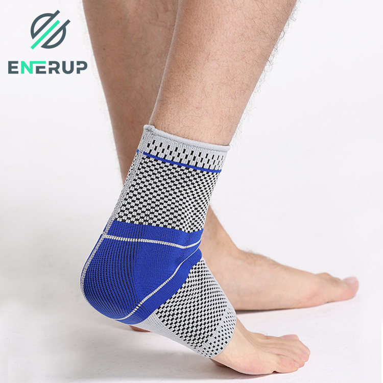 Enerup Black Daily Sport Safety Compression Double Pressure Ankle Foot Brace Wrapped Protector For Men And Women Jogging