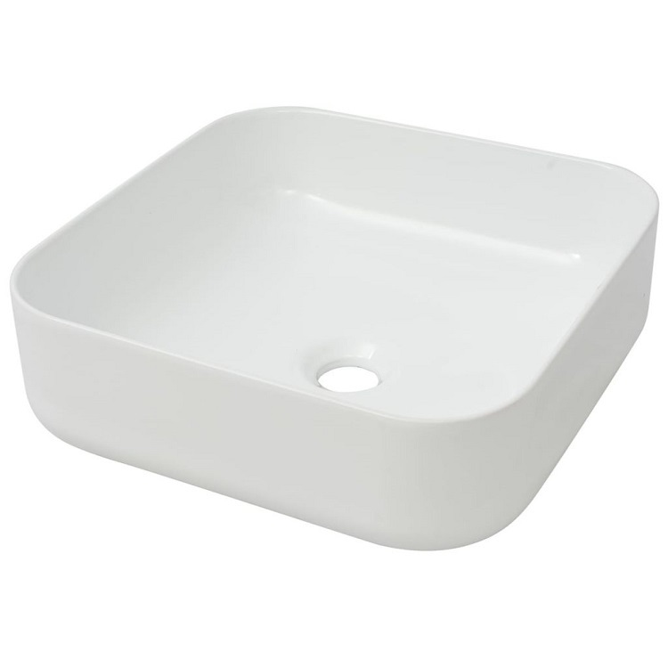 Elegant White Square Shape Table Top Poly Resin Bathroom Wash Basin