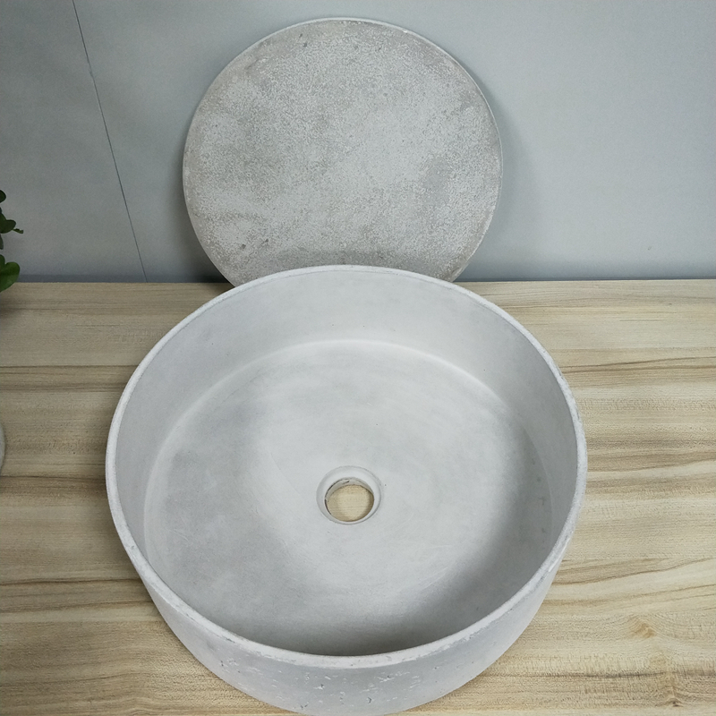 Eco-friendly Hotel Supply Round Natural Concrete Bathroom Wash Basin