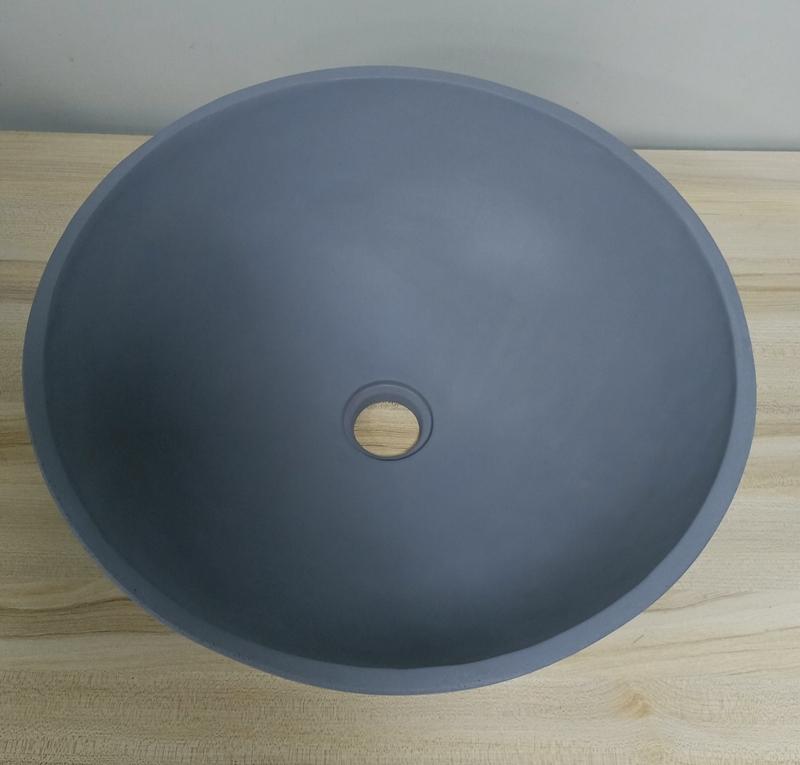Round Shape Dark Grey Concrete Wash Basin