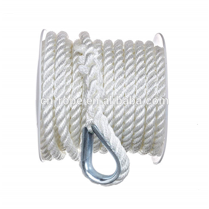 amazon hot sale 3/8 inch marine rope anchor line three strand construction