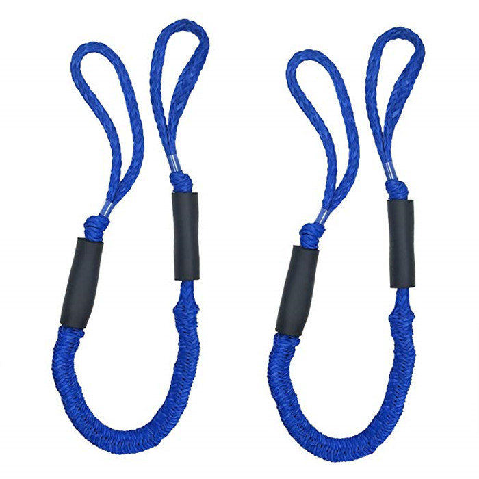 Bungee Dock Lines with Hook Clip Bunjee Rope Stretches Cord Shock Absorbs Marine Mooring Rope 4 Feet 2 Pack